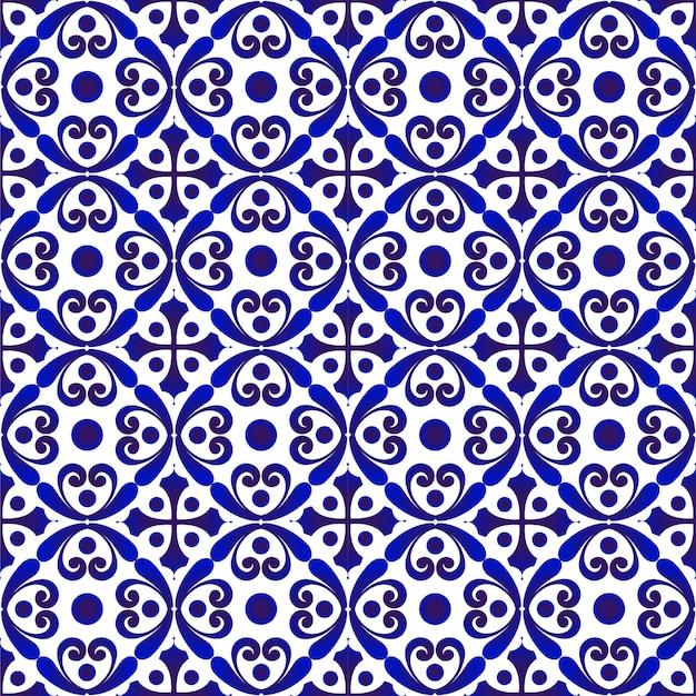 Porcelanowy wzór ceramiczny bezszwowy wystrój niebiesko-białe nowoczesne tło do projektowania porcelany p