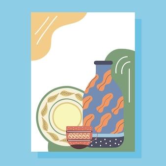 Porcelanowy zestaw naczyń naczynia plakat