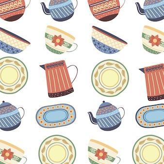 Porcelanowy zestaw naczyń z porcelany wzór