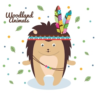 Porcupine woodland animal with feather crown