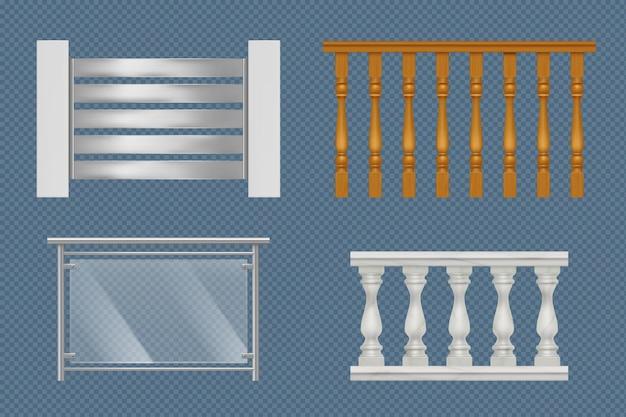 Poręcze balkonowe. budowanie konstrukcji schodów na tarasowe drewniane szkło lub metalowe balustrady wektorowe realistyczne szablony. ilustracja poręczy balkonowej, balustrady balustrady