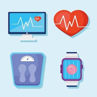 Poręczny stan zdrowia cztery monitory