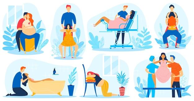 Poród stwarza wektor ilustracja płaski zestaw, pozycja kobiety w ciąży kreskówka podczas narodzin dziecka, kurs dziecka w ciąży