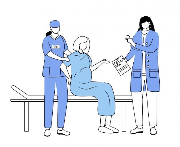 Poród w szpitalnej płaskiej wektorowej ilustraci. kobieta w ciąży ze skurczami i porodem. położnictwo i ginekologia. położnik, pielęgniarka z pacjentami z kreskówek na białym tle