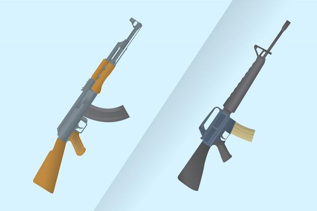 Porównaj między ameryką m-16 a ak-47 rosją kałasznikowem