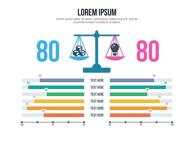 Porównanie, para, element infographic i szablon prezentacji
