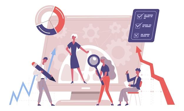 Porównanie usprawnień biznesowych firmy benchmarkingowej. firmy konkurencyjne firmy, ilustracja wektorowa analizy rozwoju firmy. wzorcowe testy biznesowe