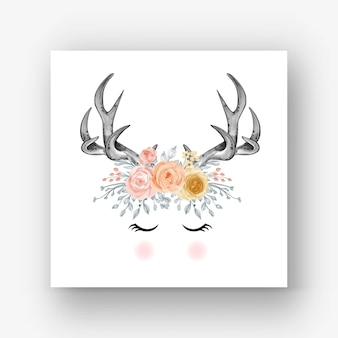 Poroże jelenia kwiat akwarela ilustracja