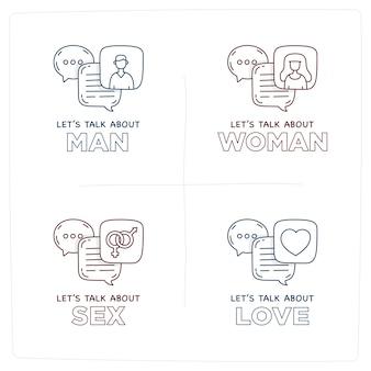 Porozmawiajmy o miłości doodle pęcherzyki dialogowe ilustracji