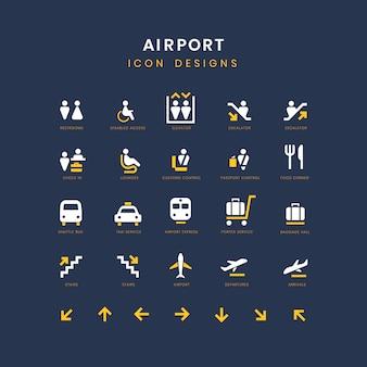 Port lotniczy usługi podpisuje wektor zestaw