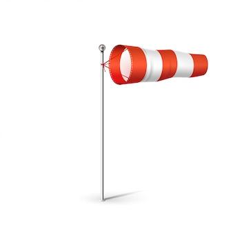 Port lotniczy wiatr skarpety 3d realistyczne ilustracji. czerwono-biała flaga wiatru wskazująca kierunek i prędkość wiatru. pojedynczo na białym.