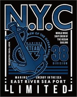 Port morski rzeki wschodniej, wektor żeglarstwo typografia ilustracja projekt graficzny