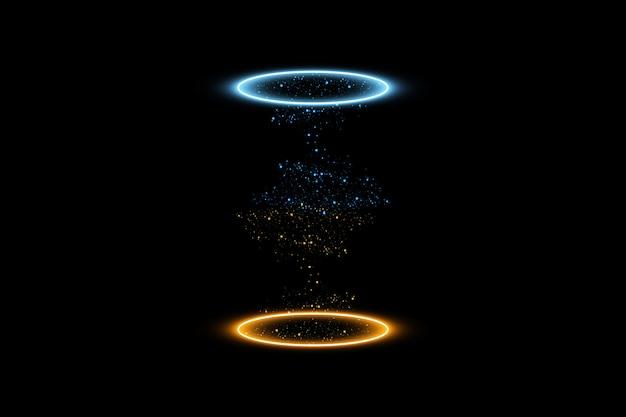 Portal fantasy fantasy. futurystyczny teleport. efekt świetlny. niebieskie i żółte promienie świec sceny nocnej z iskrami na przezroczystym tle.