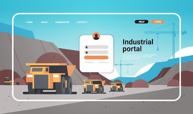 Portal przemysłowy strona internetowa szablon strony docelowej górnictwo odkrywkowe z ciężarówkami na węgiel antracytowa ilustracja wektorowa kopii poziomej przestrzeni