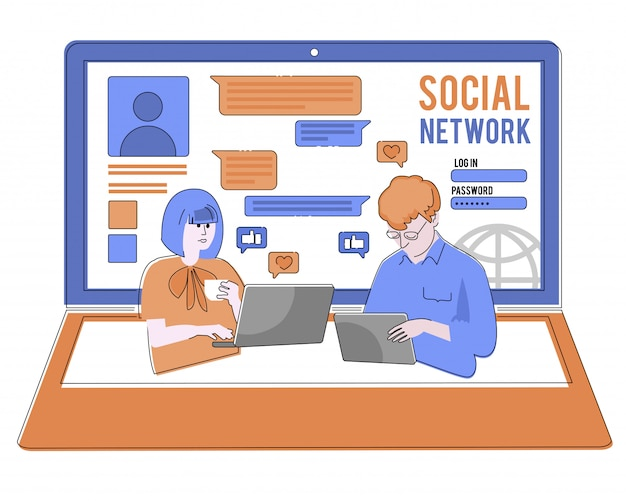 Portal społecznościowy surfowanie ilustracja koncepcja młodych ludzi korzystających z mobilnych gadżetów, takich jak smartfon, tablet pc i laptop, aby być częścią społeczności online. płascy mężczyźni i kobiety na dużym zeszycie