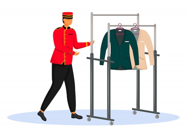 Porter w czerwonym kolorze. bellman niosący wózek z ubraniami. personel hotelu z wyposażeniem, serwisant. postać z kreskówki bellhop na białym tle
