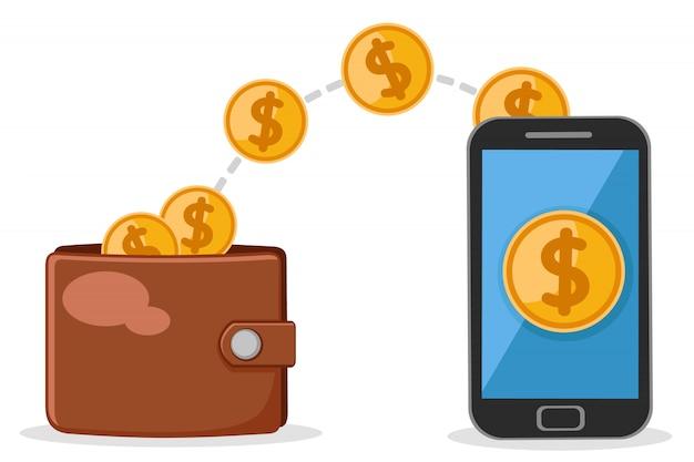 Portfel dodaje pieniądze do telefonu komórkowego na białym tle.