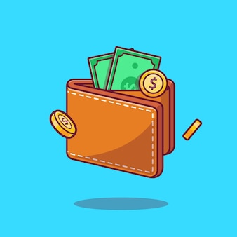 Portfel i pieniądze cartoon