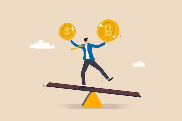 Portfel inwestycyjny z bitcoinem lub walutą kryptograficzną, handel kupnem lub sprzedażą, koncepcja wartości wymiany na rynku kryptowalut, portfel bilansowy inwestora lub przedsiębiorcy z monetą dolarową i bitcoinami.