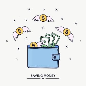 Portfel z latającymi pieniędzmi