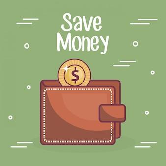 Portfel z monetą i pieniędzmi oszczędzać tekst