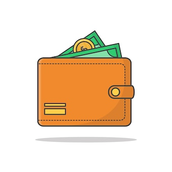 Portfel z pieniędzmi gotówki na białym tle