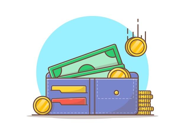 Portfel z pieniędzy i stos złotych monet wektor ikona ilustracja
