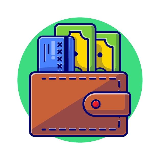Portfel z płaską ilustracją pieniędzy i karty debetowej