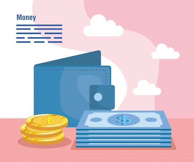 Portfel z rachunkami i monetami gotówka
