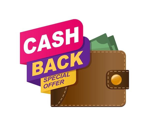 Portfel zwrotu gotówki z pieniędzmi na białym tle