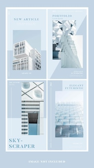 Portfolio nowoczesna elegancka architektura media społecznościowe pakiet szablonów historii na instagramie