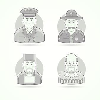 Portier hotelu, policjant z teksasu, chirurg, nauczyciel w szkole. zestaw ilustracji postaci, awatarów i osób. czarno-biały styl konturowy.
