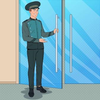 Portier w stylu pop art stojący przy wejściu do hotelu. odźwierny w mundurze. luksusowa usługa hotelowa.