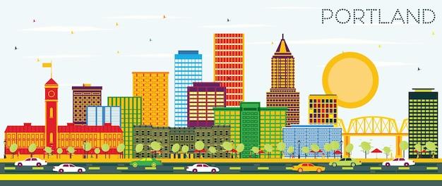 Portland oregon city skyline z kolorowymi budynkami i błękitnym niebem. ilustracja wektorowa. podróże służbowe i koncepcja turystyki z nowoczesną architekturą. gród portland z zabytkami.