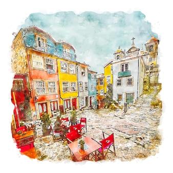 Porto portugalia akwarela szkic ręcznie rysowane ilustracja