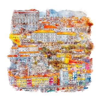 Porto, portugalia szkic akwarela ręcznie rysowane ilustracja