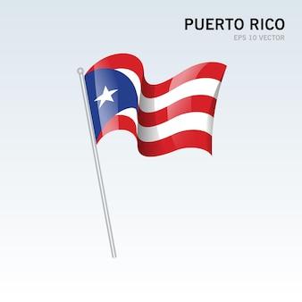 Portoryko macha flagą odizolowaną na szaro