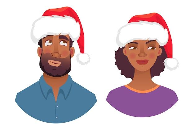 Portret afrykańskiego mężczyzny i kobiety w kapeluszu boże narodzenie.