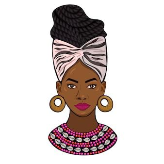 Portret afrykańskiej księżniczki na białym tle