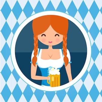 Portret avatar niemiecki dziewczyna koło. blondynka w tradycyjnym stroju z piwem. ilustracja wektorowa charakter płaski octoberfest.