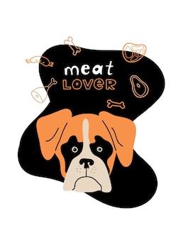 Portret boksera ilustracja kreskówka z mięsem z kości kiełbasy psa i napisem meat love