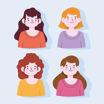 Portret cartoon młodych kobiet postaci kobiecych wektorowych ilustracji