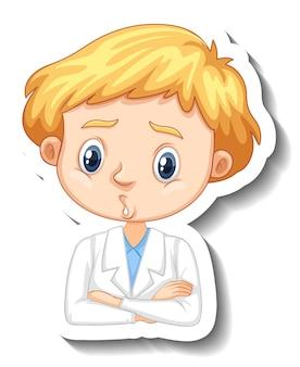 Portret chłopca w sukni naukowej naklejka z postacią z kreskówek