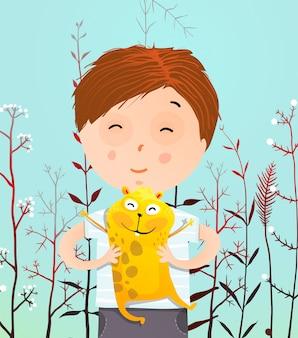 Portret chłopca z chomikiem