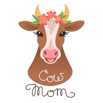Portret cute krowy. postać łydki w stylu kreskówki.