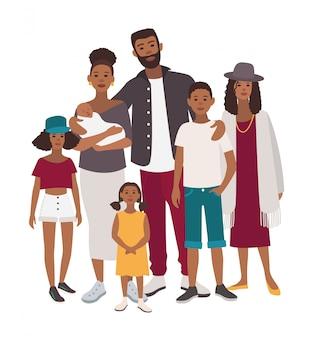 Portret dużej rodziny. afrykańska matka, ojciec i pięcioro dzieci. szczęśliwi ludzie z krewnymi. kolorowa płaska ilustracja.