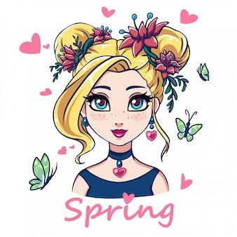 Portret dziewczyny kreskówka. wielkie niebieskie oczy, blond włosy i różowe kwiaty. ręcznie rysowane ilustracja na białym tle. nadruki, karty, szablon koszulki itp.