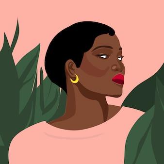 Portret dziewczyny młodych kobiet stylowa moda z roślinami ilustracyjnymi