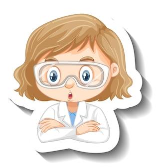 Portret dziewczyny w sukni naukowej naklejka z postacią z kreskówek