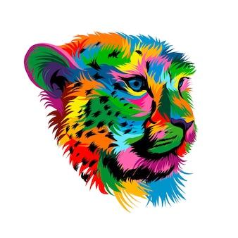 Portret głowy geparda z wielobarwnych farb splash realistycznego rysunku w kolorze akwareli